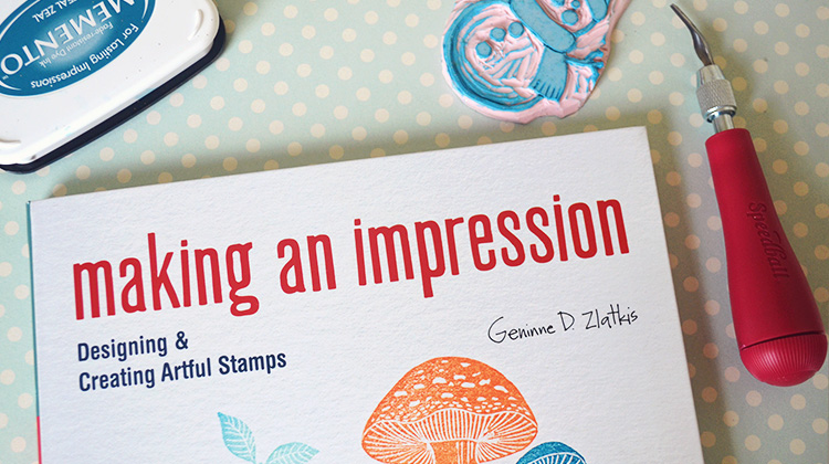 Katy Bloss how to carve a Christmas stamp Making an Impression book by Gennine Zlatkis