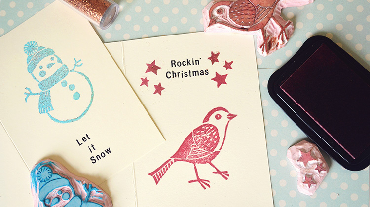 Katy Bloss how to carve a Christmas stamp