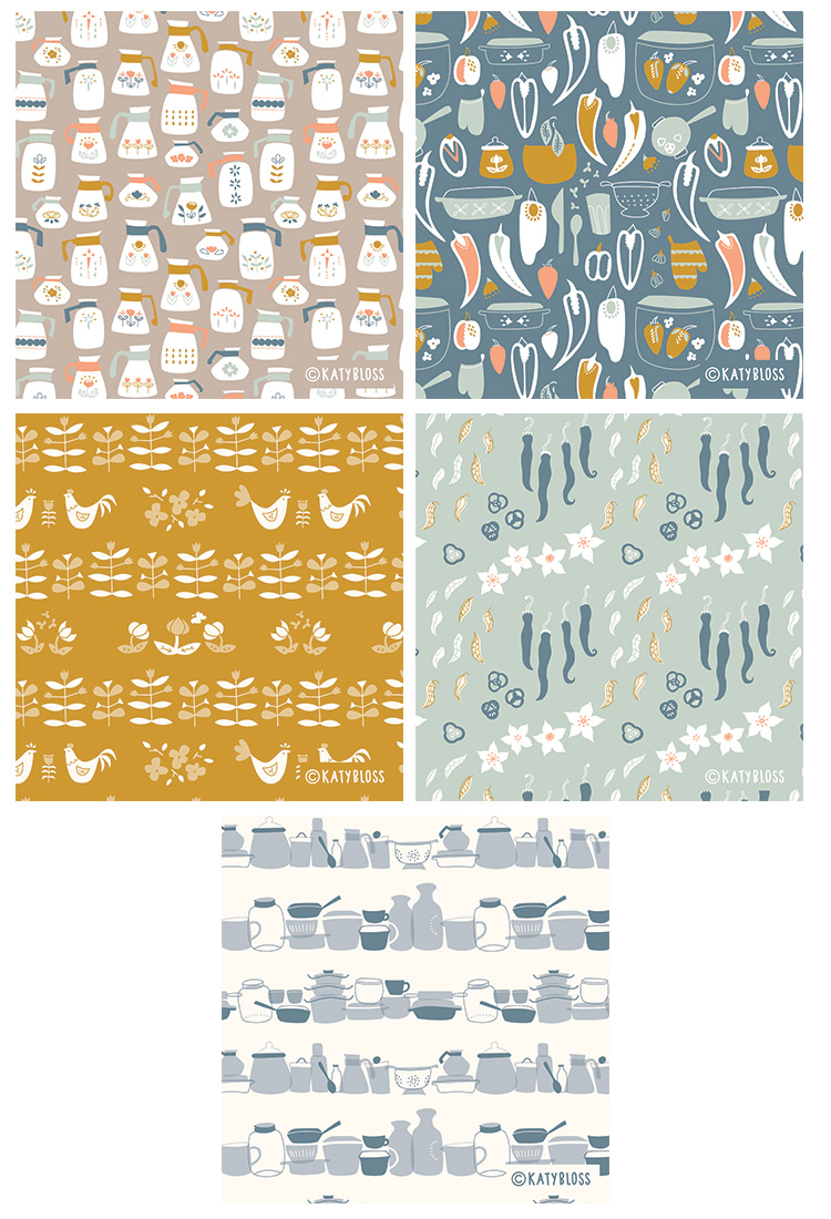 Katy Bloss Retro Kitchen Surface Pattern Design Collection Swatches