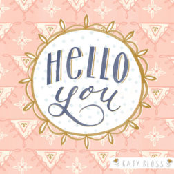 Katy Bloss Hello You Notecard illustration