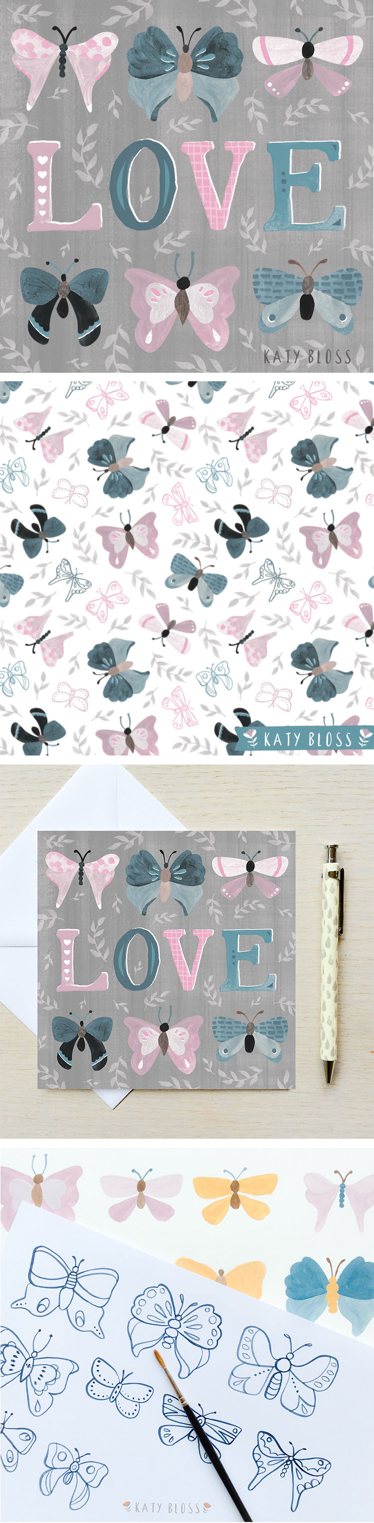 Katy Bloss Butterfly Love Valentine's Day Card Design and Butterfly Pattern Process