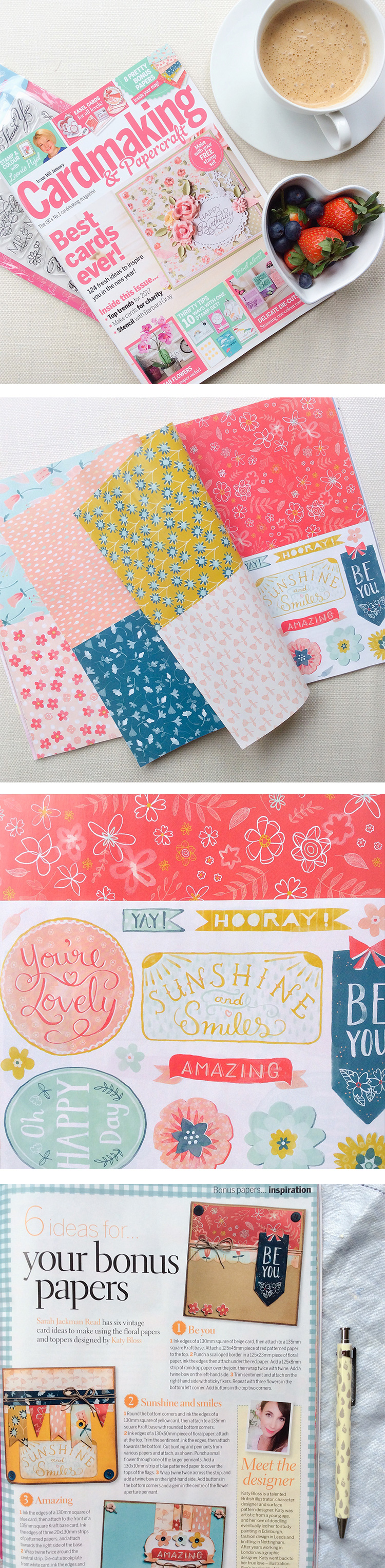 Katy Bloss Cardmaking and Papercraft Magazine free patterned papers