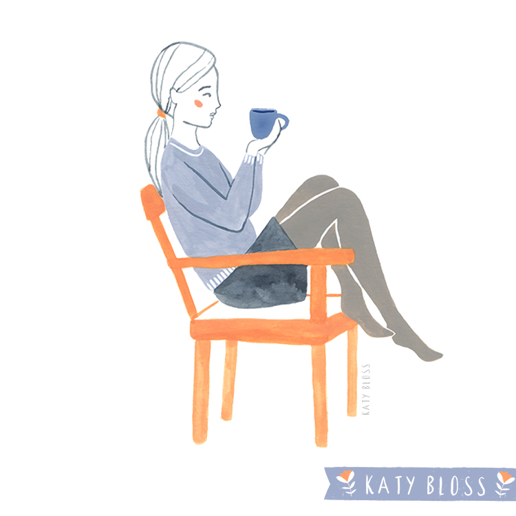 Katy Bloss Coffee Drinkers Watercolour Illustrations Chair