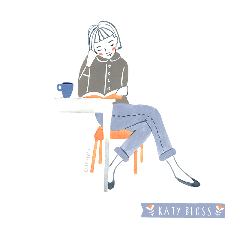 Katy Bloss Coffee Drinkers Illustration Series Table