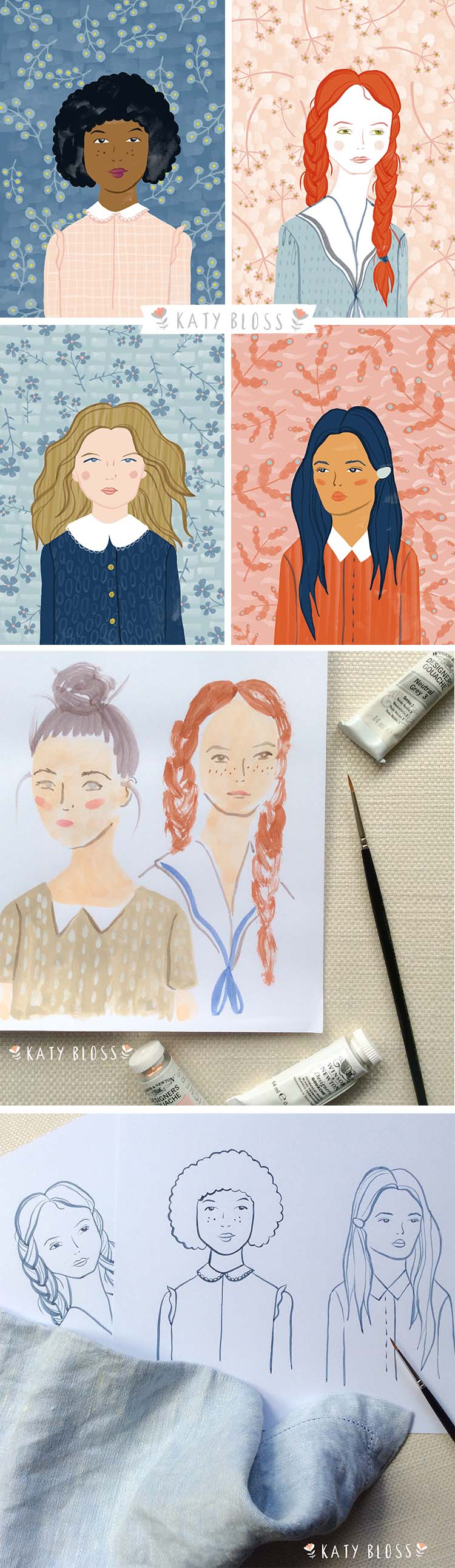 Katy Bloss Girls in Shirts Illustration Series Design Process